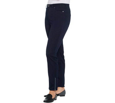 Dennis Basso Stretch Luxe Denim 5 Pocket Slim Leg Ankle Jeans