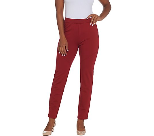 Susan Graver Petite Ponte Knit Pull-On Slim-Leg Pants