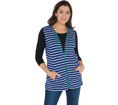 Quacker Factory French Terry Vest with Contrast Zipper Detail