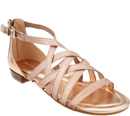 """As Is"" Marc Fisher Cross Weave Stretch Sandals- Play"