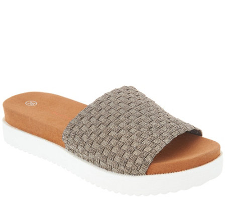 """As Is"" Bernie Mev Woven Slide Sandals- Capri"