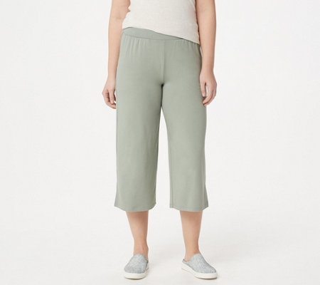 LOGO by Lori Goldstein Knit Pull-On Wide-Leg Crop Pants