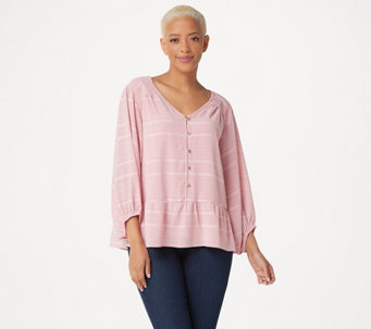 H by Halston Striped Button Front Top with Blouson Sleeves - A352404 83ab65e43