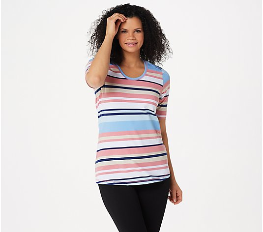Denim & Co. Stripe Print Perfect Jersey Rounded V-Neck Top