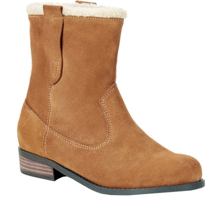 Sole Society Suede and Faux Shearling Booties -Verona