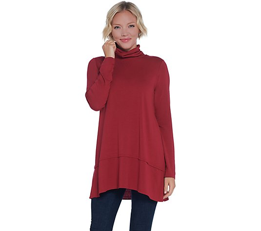 """As Is"" Joan Rivers Long Sleeve Jersey Knit Turtleneck with Hem Detail"