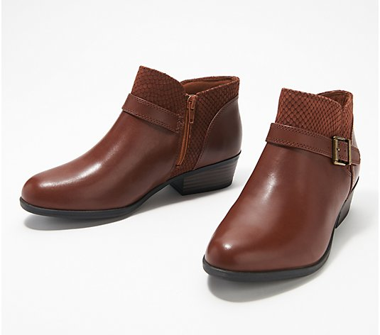 Clarks Collection Leather Booties w/ Buckles - Addiy Sharilyn