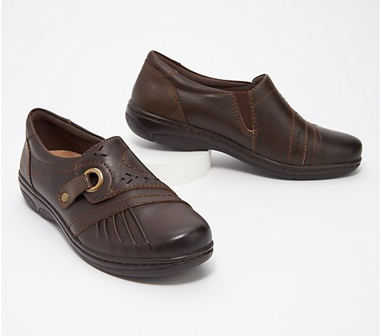 Earth Origins Leather Slip-On Shoes - Glendale Gabrielle