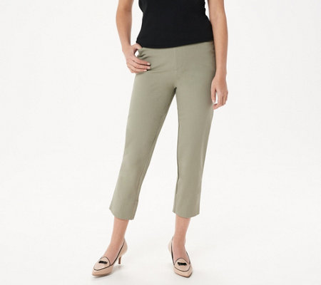 As Is Isaac Mizrahi Live Petite 24 7 Stretch Crop Pants W Slit