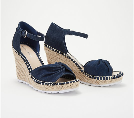 """As Is"" Marc Fisher Open-Toe Espadrille Wedges- Karli"