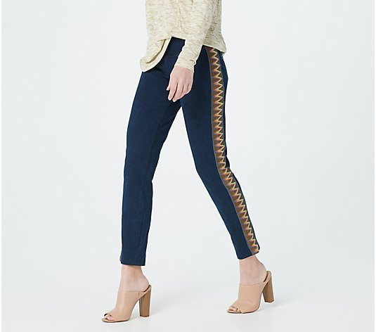 Women with Control Petite Prime Stretch Denim Jeans With Side Trim