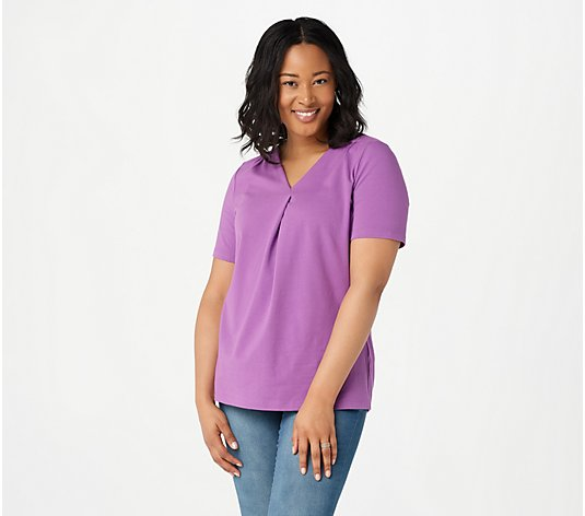 Denim & Co. Essentials Perfect Jersey Pleated V-Neck Top