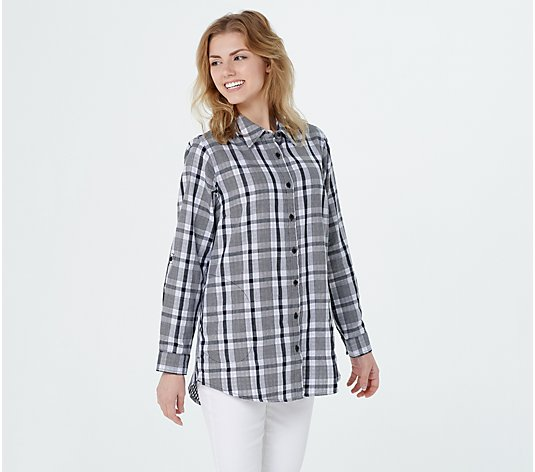 Joan Rivers Long Sleeve Plaid Shirt with Gingham Detail