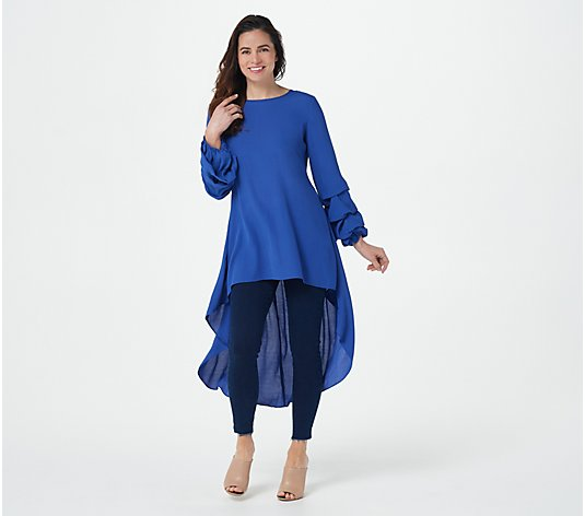 Truth + Style Woven Crepe Hi-Low Hem Tunic with Pick Up Sleeves
