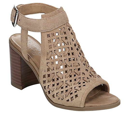 Franco Sarto Leather Block Heel Sandals - Harlet
