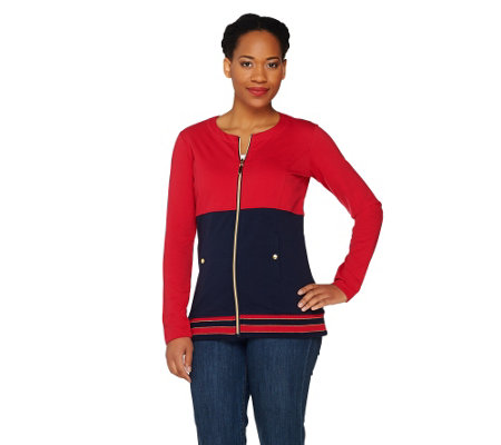 Susan Graver Weekend Brushed French Terry Color Block Jacket