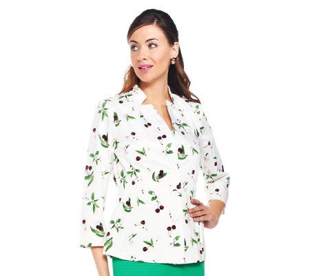 Joan Rivers Cherry Print Jacket with Ruching  Detail
