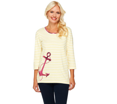 Quacker Factory Anchors Away Stripe 3/4 Sleeve T-shirt
