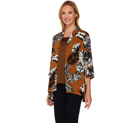 Linea by Louis Dell'Olio Printed Cardigan and Tank Set