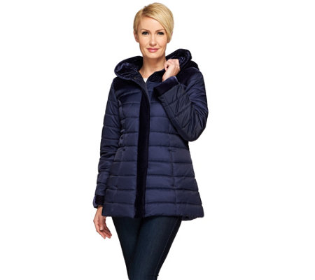 Susan Graver Puffer Coat with Velvet Trim
