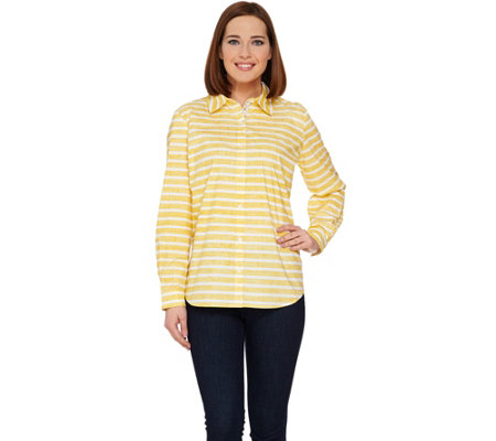 Susan Graver Striped Stretch Cotton Long Sleeve Button Front Shirt