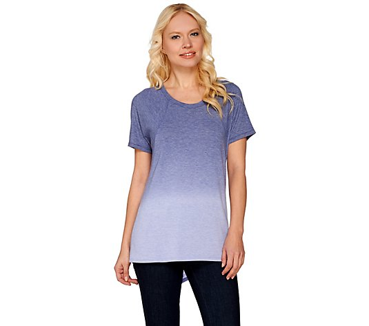 Lisa Rinna Collection Short Sleeve Dip Dyed Knit Top