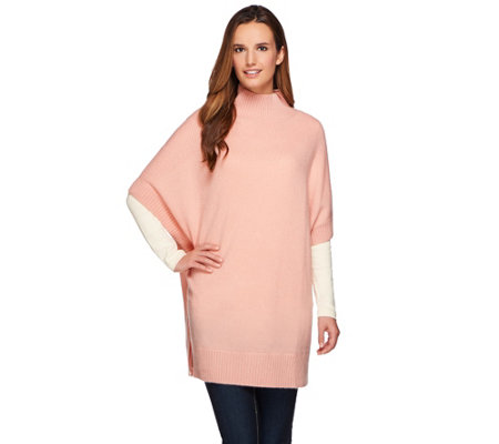 """As Is"" Isaac Mizrahi Live! 2-Ply Cashmere Sweater Tunic"