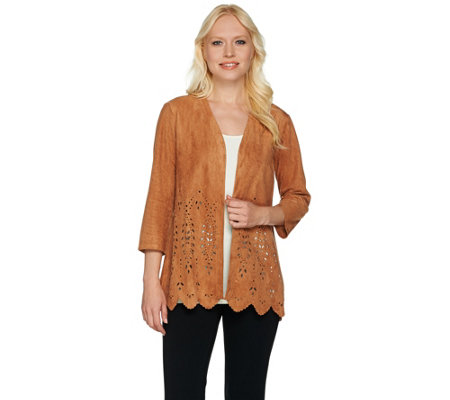 Joan Rivers Faux Suede Cardigan with Laser Cut Detail