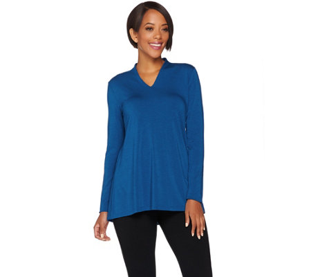 H by Halston Essentials Long Sleeve V-neck Knit Top