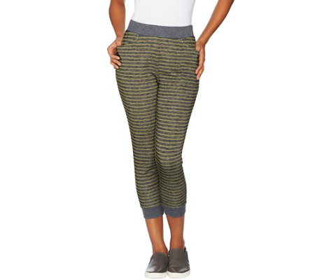 LOGO Lounge by Lori Goldstein French Terry Striped Joggers with Rib Detail