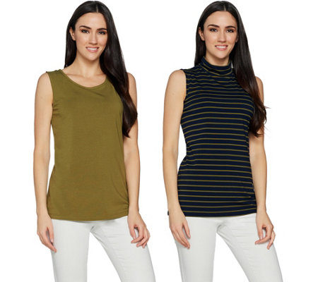 Susan Graver Weekend Solid & Striped Cotton Modal Set of 2 Tops