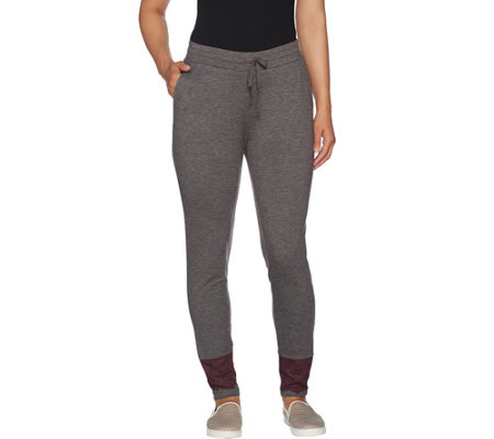 LOGO Lounge by Lori Goldstein French Terry Jogger Pants w/ Lace at Bottom