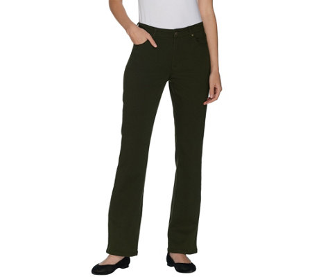 Susan Graver Regular Stretch Twill Fly Front Mini Boot Cut Jeans
