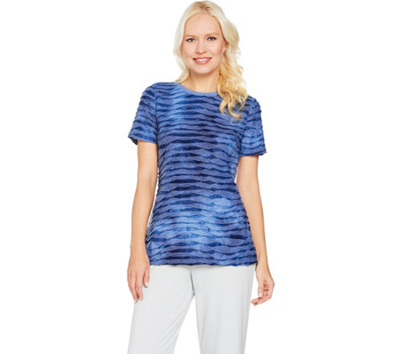 """As Is"" H by Halston Short Sleeve Tie Dye Textured Knit T-shirt"