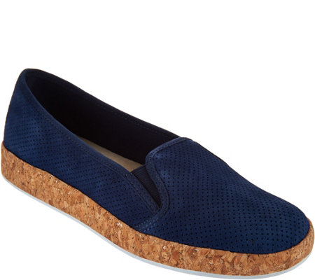 """As Is"" Isaac Mizrahi Live! Perforated Suede Slip-On Cork Sneakers"