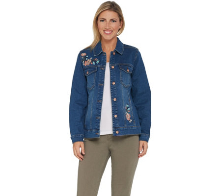 Studio by Denim & Co. Embroidered Button Front Jean Jacket