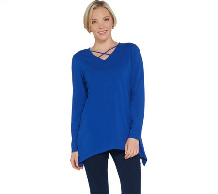 Denim & Co. V-Neck with Criss Cross Long Sleeve Trapeze Top