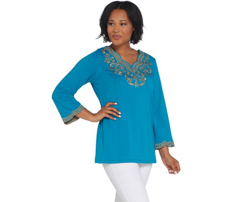 Bob Mackie's Embroidered Scalloped Neckline Knit Tunic