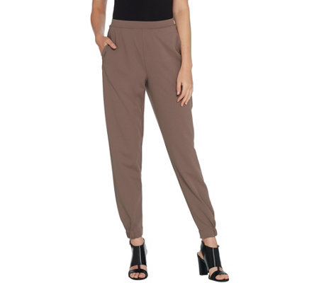 H by Halston Regular Knit Crepe Jogger Pants with Pockets