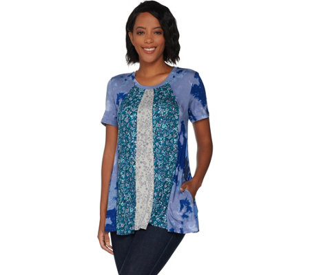 """As Is"" LOGO by Lori Goldstein Multi Printed Paneled Top with Pockets"
