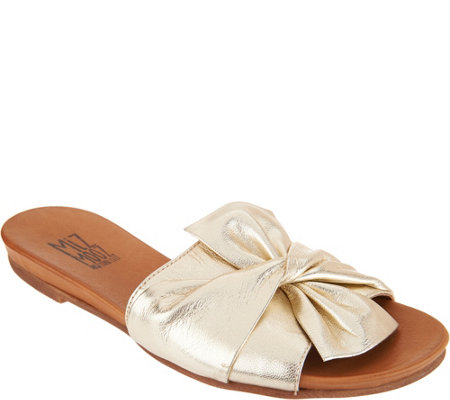 """As Is"" Miz Mooz Leather Knot Detail Slide Sandals- Angelina"
