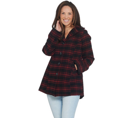 Joan Rivers Button Front Plaid Swing Coat