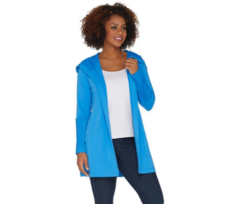 """As Is"" Denim & Co. Active Petite Knit Cardigan with Mesh Trim"