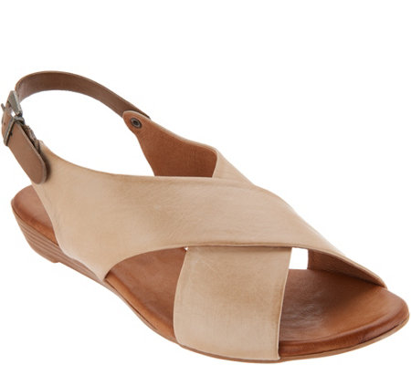 """As Is"" Miz Mooz Leather Cross Strap Sandals- Anya"