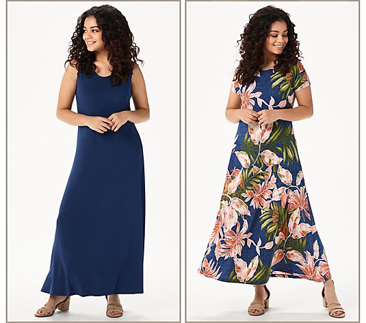 Attitudes by Renee Petite Como Jersey Set of 2 Maxi Dresses