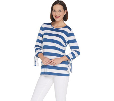 """As Is"" Joan Rivers Striped Tee with Tie Detail"