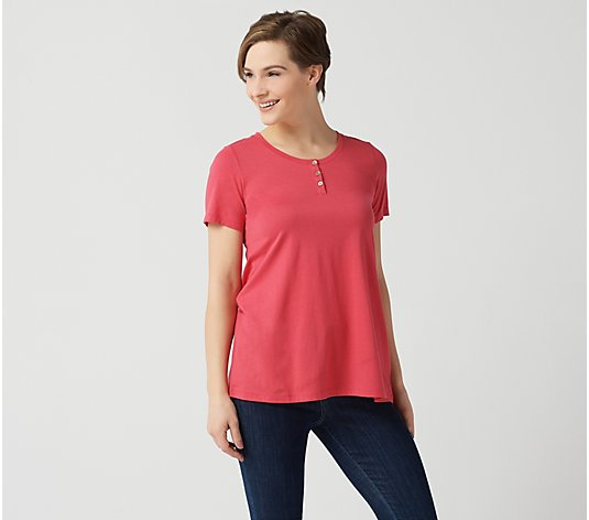"LOGO Principles by Lori Goldstein The 28"" Tee w/ Henley Detail"