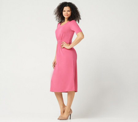 H by Halston Petite Ruched Waist Elbow-Sleeve Midi Dress
