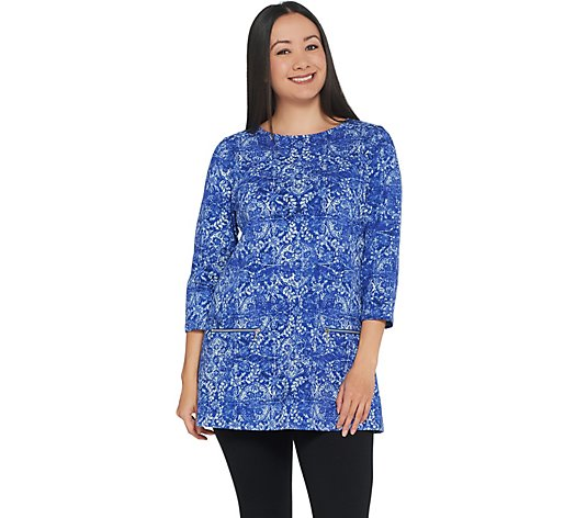 """As Is"" Susan Graver Weekend Printed French Terry Tunic"
