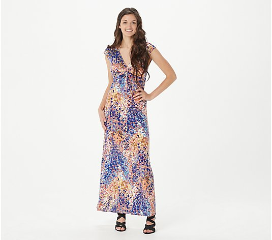 Attitudes by Renee Regular Como Jersey Knot Front Maxi Dress